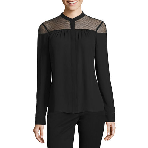 Worthington Long Sleeve Sheer Mock-Neck Woven Blouse