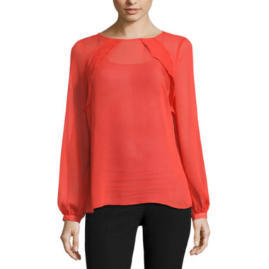 jcpenney.com | Worthington Long Sleeve Ruffle Yoke Blouse