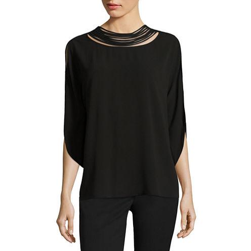 Worthington 3/4 Split Sleeve Woven Pullover Blouse