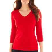 St. John's Bay® 3/4-Sleeve Essential V-Neck Tee