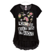 Knit Works High-Low Ruffle-Back Top with Necklace - Girls 7-16 and Plus