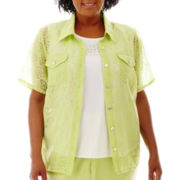 Alfred Dunner® Hint of Lime Short-Sleeve Burnout Layered Shirt - Plus