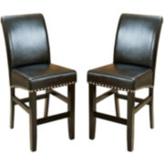 Fallon Set of 2 Bonded Leather Barstools with Nailhead Trim