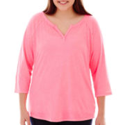 AZ 3/4 Sleeve Notch Neck Tee - Plus