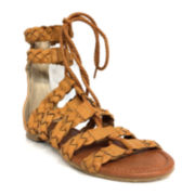 Groove Talia Braided Lace Up Flat Sandals
