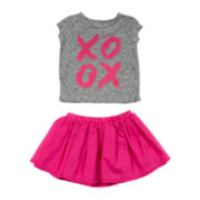 Amy Coe XOXO Burnout Tee and Ruffle Skirt Set - Baby Girls 3m-24m
