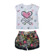 Amy Coe Rock and Roll Graphic Tee and Shorts Set - Baby Girls 3m-24m