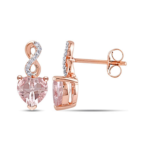 Heart-Shaped Genuine Morganite and Diamond-Accent 10K Rose Gold Earrings