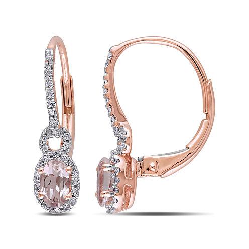 Oval Genuine Morganite and 1/6 CT. T.W. Diamond 10K Rose Gold Earrings