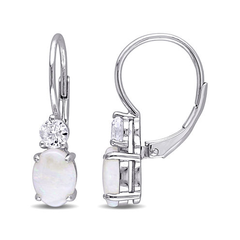 Round Genuine Opal and Lab-Created White Sapphire Earrings