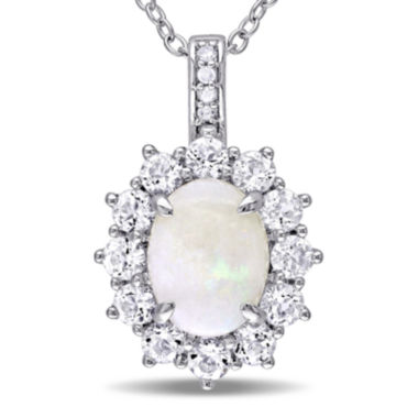 jcpenney.com | Round Genuine Opal, White Topaz and Diamond-Accent Starburst Pendant Necklace