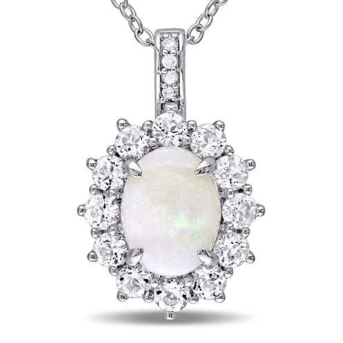 Round Genuine Opal, White Topaz and Diamond-Accent Starburst Pendant Necklace