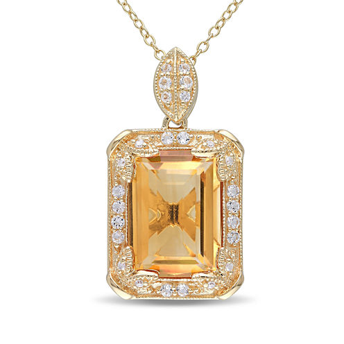 Genuine Citrine, White Topaz and Diamond-Accent Pendant Necklace