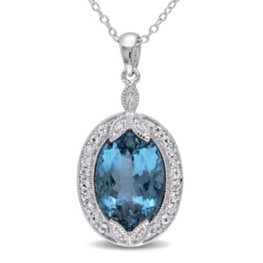 jcpenney.com | Genuine London Blue Topaz, White Topaz and Diamond-Accent Pendant Necklace