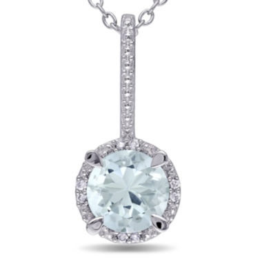 jcpenney.com | Round Genuine Aquamarine and Diamond-Accent Pendant Necklace
