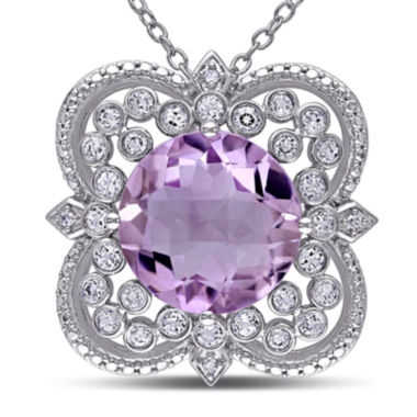 jcpenney.com | Round Genuine Rose de France Amethyst, White Topaz and Diamond-Accent Necklace