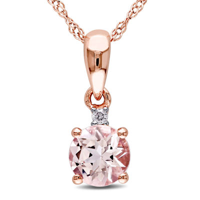 Round genuine morganite and diamond accent 10k rose gold pendant round genuine morganite and diamond accent 10k rose gold pendant necklace aloadofball Images