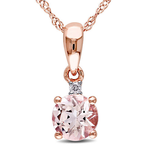 Round Genuine Morganite and Diamond-Accent 10K Rose Gold Pendant Necklace