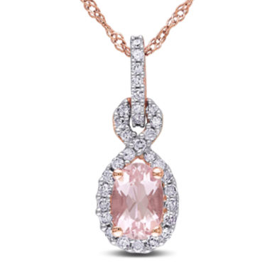 jcpenney.com | Oval Genuine Morganite and 1/7 CT. T.W. Diamond 10K Rose Gold Pendant Necklace