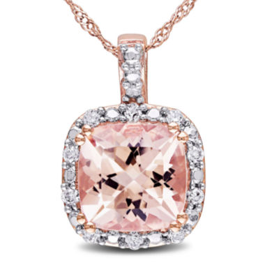 jcpenney.com | Cushion-Cut Genuine Morganite and 1/10 CT. T.W. Diamond Pendant Necklace