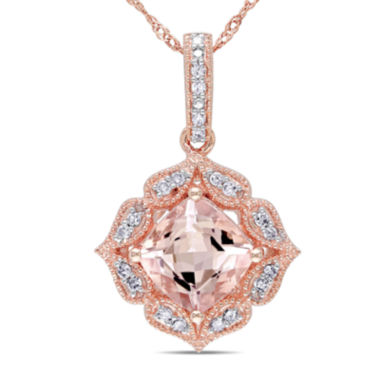 jcpenney.com | Angled Cushion-Cut Genuine Morganite and 1/10 CT. T.W. Diamond Pendant Necklace