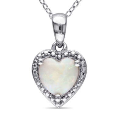 jcpenney.com | Heart-Shaped Genuine Opal Sterling Silver Pendant Necklace