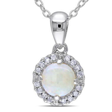 jcpenney.com | Genuine Opal and 1/10 CT. T.W. Diamond Sterling Silver Pendant Necklace