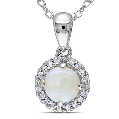 Genuine Opal and 1/10 CT. T.W. Diamond Sterling Silver Pendant Necklace