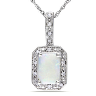jcpenney.com | Genuine Opal and Diamond-Accent 10K White Gold Pendant Necklace