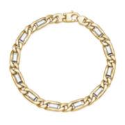 10K Two-Tone Gold Figaro Mens Bracelet