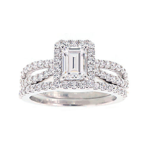 diamonart cubic zirconia sterling silver emerald cut bridal ring set - Jcpenney Wedding Ring Sets
