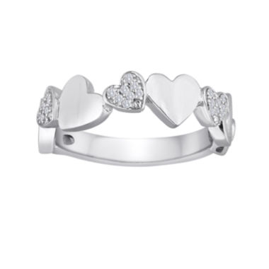jcpenney.com | 1/10 CT. T.W. Diamond Sterling Silver Puff Heart Ring