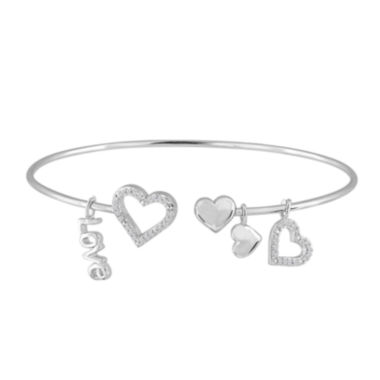 jcpenney.com | 1/10 CT. T.W. Diamond Sterling Silver Heart Bangle with Charms
