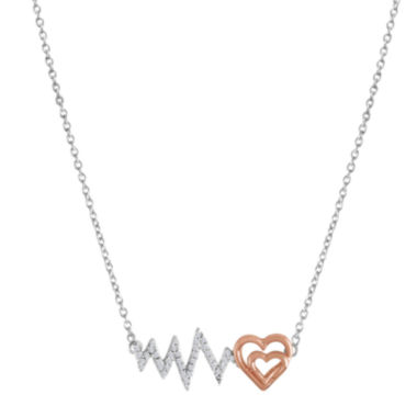 jcpenney.com | ForeverMine® 1/10 CT. T.W. Diamond Two-Tone Heartbeat Necklace