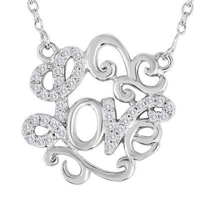 0949353ae4f3a 1/10 CT. T.W. Diamond Sterling Silver Love Script Necklace