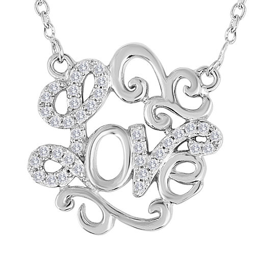 1/10 CT. T.W. Diamond Sterling Silver Love Script Necklace