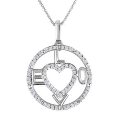 jcpenney.com | 1/5 CT. T.W. Diamond Sterling Silver Love Heart Compass Pendant Necklace