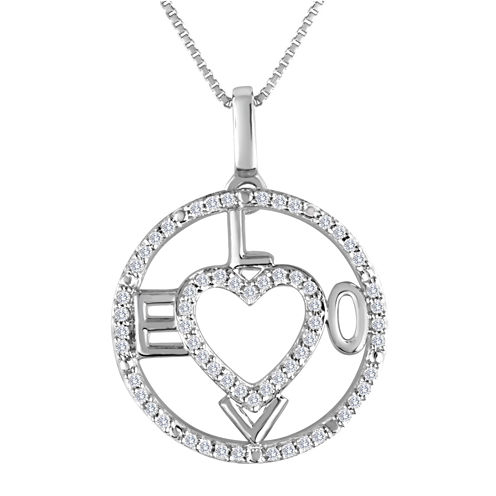 1/5 CT. T.W. Diamond Sterling Silver Love Heart Compass Pendant Necklace