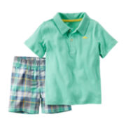 Carter's® 2-pc Polo and Plaid Shorts Set - Toddler Boys 2t-5t