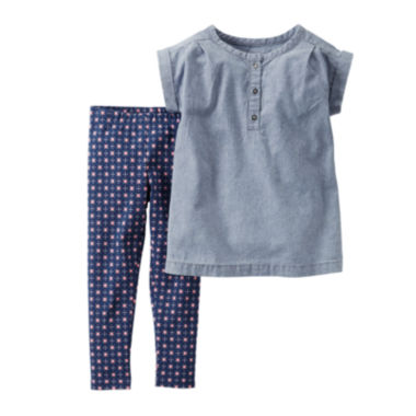 jcpenney.com | Carter's® Chambray Shirt and Leggings Set - Toddler Girls 2t-5t