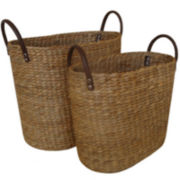 Water Hyacinth Set of 2 Magazine Baskets