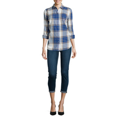 jcpenney.com | Stylus™  Oversized Shirt  And Denim Ankle Jeans
