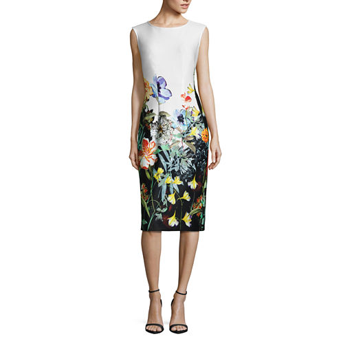 S. L. Fashions Sleeveless Floral Sheath Dress