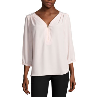 jcpenney.com | by&by 3/4 Sleeve Crepe Zipper Front Blouse-Juniors