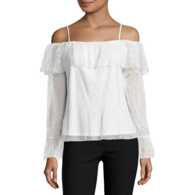 jcpenney.com | by&by Long Sleeve Lace Blouse-Juniors