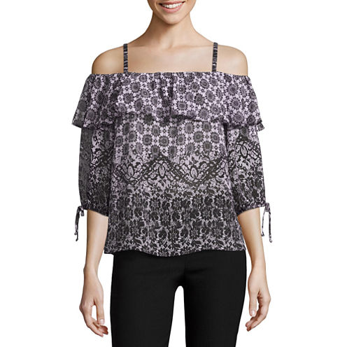 by&by Long Sleeve Chiffon Printed Off The Shoulder Blouse-Juniors
