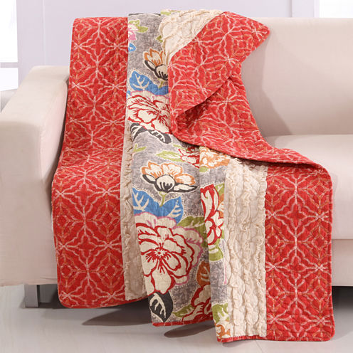 Barefoot Bungalow 100% Cotton Gypsy Rose Reversible Throw