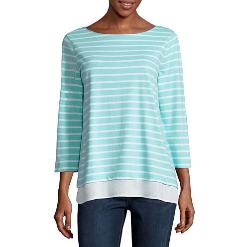 St. John's Bay 3/4 Sleeve Boat Neck Stripe T-Shirt-Womens