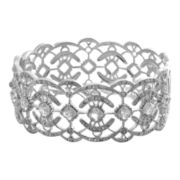 Alexandra Gem White Topaz & Crystal Lace-Look Bangle Bracelet