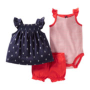 Carter's® 3-pc. Sailboat Print Short Set - Girls newborn-24m